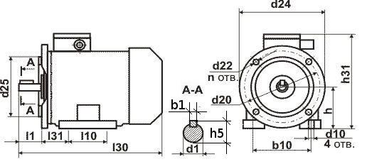 Установочные размеры двигателя АИР
