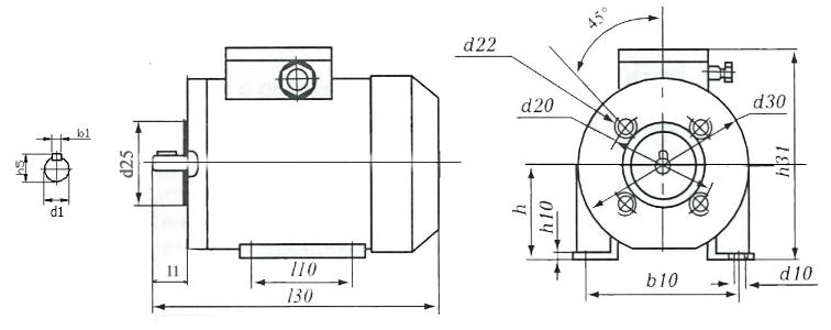 Размеры однофазного электродвигателя с креплением IM2181