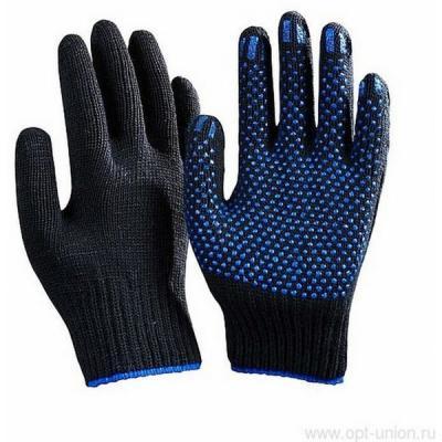 Перчатки полушерстянные с ПВХ точки ЗИМНИЕ черная (10пар/уп)