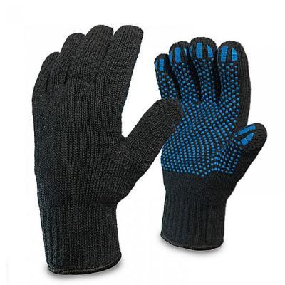 Перчатки полушерстянные двойной вязки с ПВХ точки ЗИМНИЕ черная (10пар/уп, 150пар/меш)