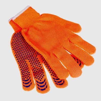 Перчатки РЫЖИЕ АКРИЛОВЫЕ С ШЕРСТЬЮ, утепленные с ПВХ точки (10пар/упак)