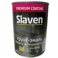 Грунт-эмаль 3 в 1 Slaven быстросохнущий антикоррозионный ЧЁРНЫЙ 1,1 кг